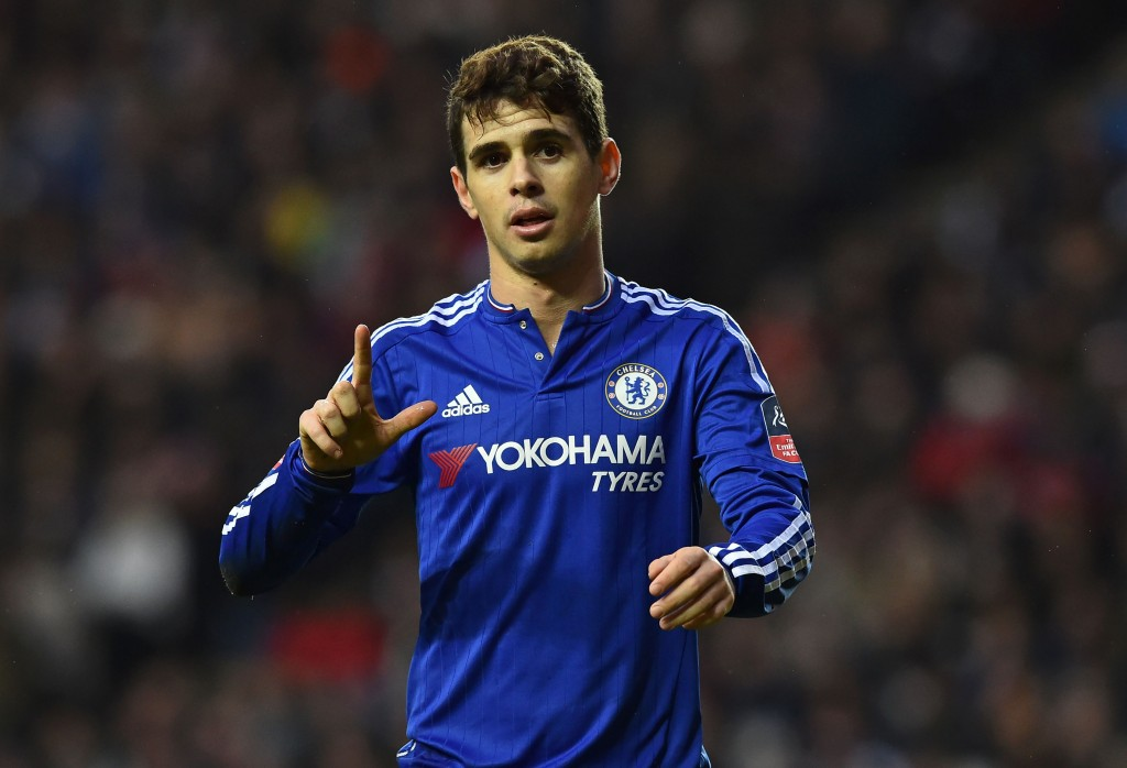 Chelsea's Brazilian midfielder Oscar celebrates after scoring his second goal during the English FA Cup fourth round football match between MK Dons and Chelsea at Stadium MK in Milton Keynes, central England, on January 31, 2016. / AFP / BEN STANSALL / RESTRICTED TO EDITORIAL USE. No use with unauthorized audio, video, data, fixture lists, club/league logos or 'live' services. Online in-match use limited to 75 images, no video emulation. No use in betting, games or single club/league/player publications. / (Photo credit should read BEN STANSALL/AFP/Getty Images)