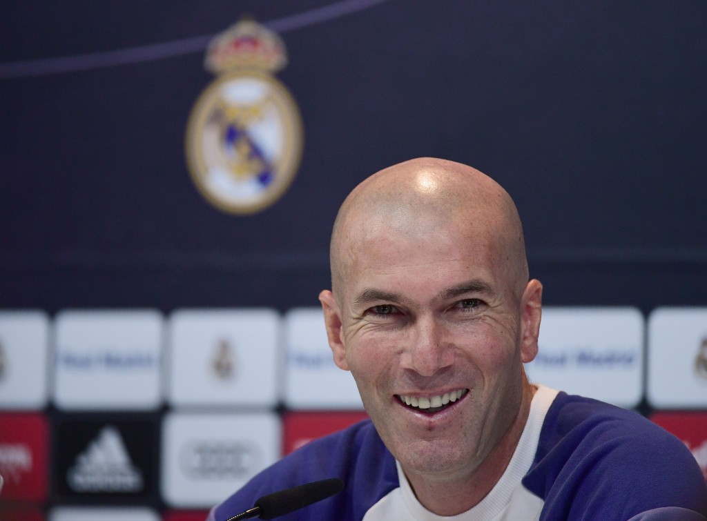 Zinedine Zidane was delighted after Real Madrid's 3-0 win over Real Sociedad. (Picture Courtesy - AFP/Getty Images)