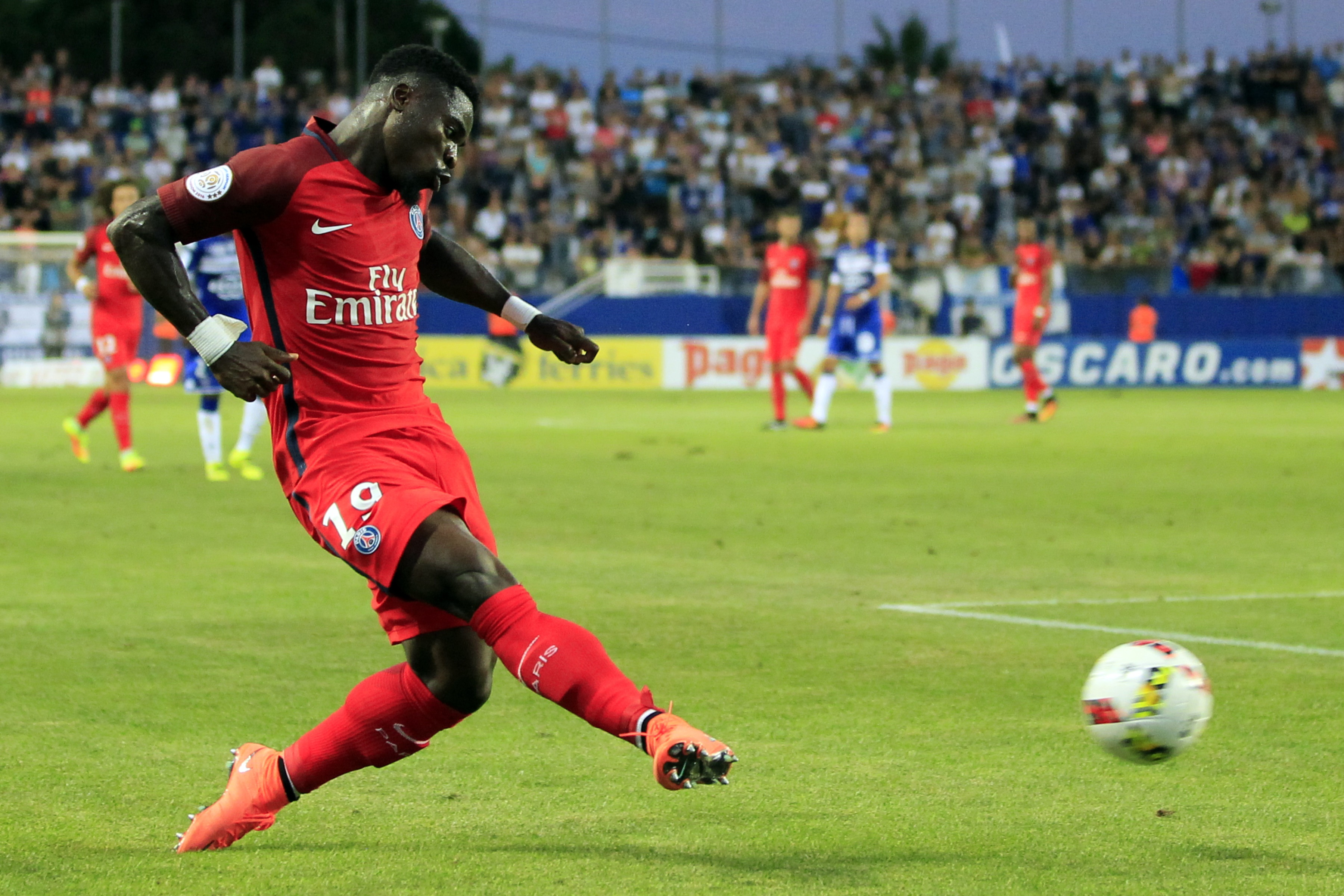 Paris Saint-Germain's Ivorian defender Serge Aurier kicks the ball during the French Ligue 1 footbal match Bastia (SCB) against Paris Saint Germain (PSG) on August 12, 2016 at the Armand Cesari stadium in Bastia on the French Mediterranean island of Corsica. AFP PHOTO / PASCAL POCHARD-CASABIANCA / AFP / PASCAL POCHARD CASABIANCA (Photo credit should read PASCAL POCHARD CASABIANCA/AFP/Getty Images)