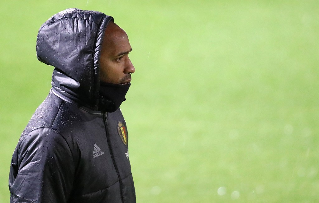 Belgium's French assistant coach Thierry Henry attends a training in Tubize on November 12, 2016 on the eve of the 2018 World Cup European zone group H football match between Belgium and Estonia. / AFP / BELGA / LAURIE DIEFFEMBACQ / Belgium OUT (Photo credit should read LAURIE DIEFFEMBACQ/AFP/Getty Images)
