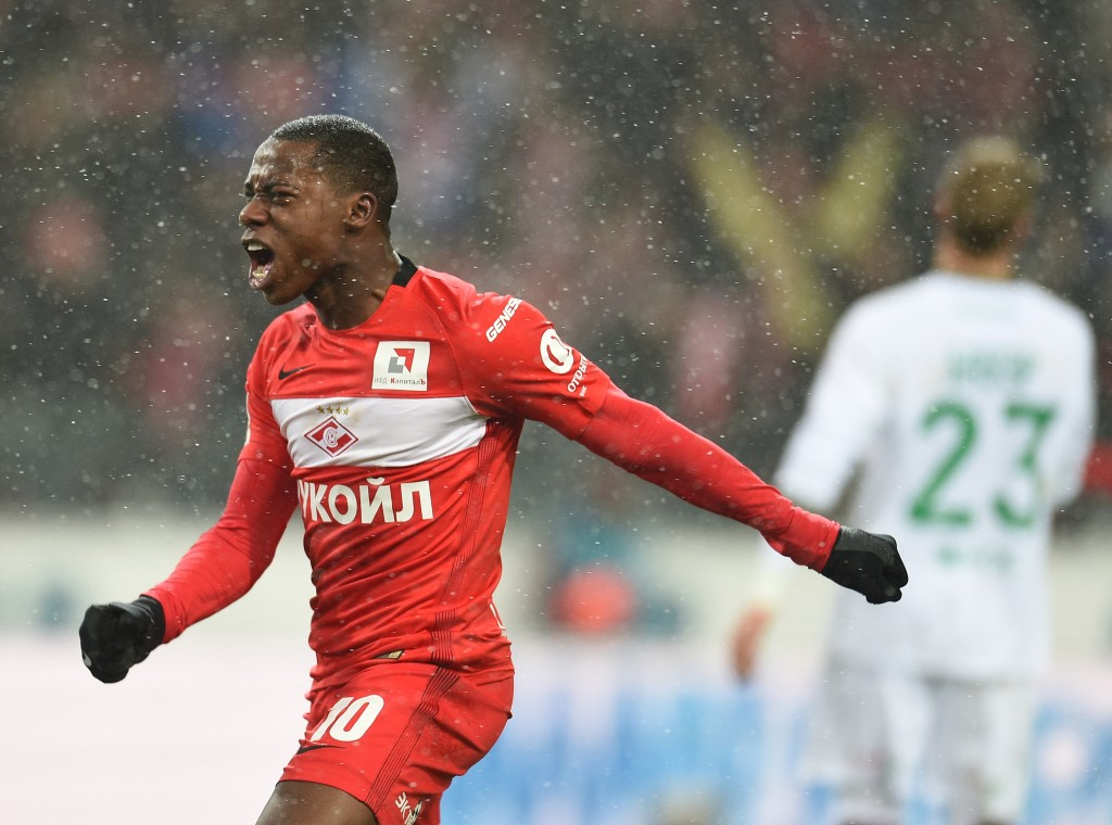 MOSCOW, RUSSIA - DECEMBER 05: Quincy Promes of FC Spartak Moscow celebrates after scoring a goal during the Russian Premier League match between FC Spartak Moscow v FC Rubin Kazan at Otkrytie Arena Stadium on December 05, 2016 in Moscow, Russia. (Photo by Epsilon/Getty Images)