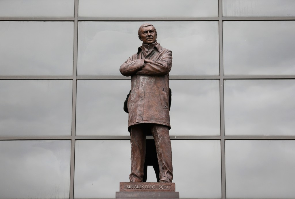 MANCHESTER, ENGLAND - AUGUST 22: The statue of Sir Alex Ferguson is pictured outside the ground prior to the Barclays Premier League match between Manchester United and Newcastle United at Old Trafford on August 22, 2015 in Manchester, England. (Photo by Julian Finney/Getty Images)
