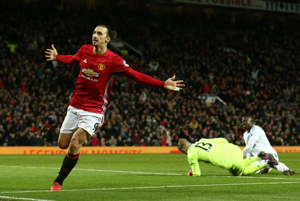 MANCHESTER, ENGLAND - DECEMBER 26: Zlatan Ibrahimovic of Manchester United celebrates after scoring his team's second goal during the Premier League match between Manchester United and Sunderland at Old Trafford on December 26, 2016 in Manchester, England. (Photo by Jan Kruger/Getty Images)