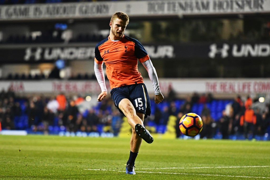 LONDON, ENGLAND - DECEMBER 14: Eric Dier of Tottenham Hotspur shoots during the warm up prior to kick off during the Premier League match between Tottenham Hotspur and Hull City at White Hart Lane on December 14, 2016 in London, England. (Photo by Dan Mullan/Getty Images)