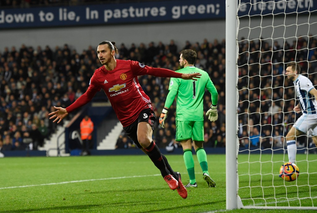Zlatan Ibrahimovic scored a brace to lead Manchester United to a 2-0 win over West Brom in the reverse fixture. (Photo courtesy - Stu Forster/Getty Images)