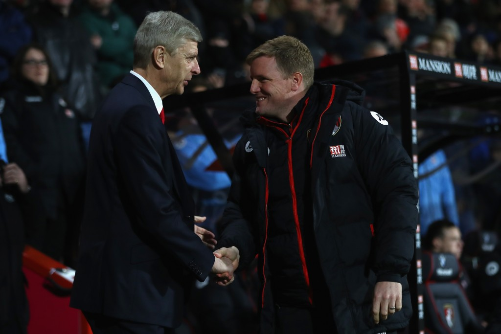 BOURNEMOUTH, ENGLAND - JANUARY 03: Eddie Howe (R) the manager of Bournemouth greets Arsene Wenger the manager of Arsenal during the Premier League match between AFC Bournemouth and Arsenal at the Vitality Stadium on January 3, 2017 in Bournemouth, England. (Photo by Michael Steele/Getty Images,)