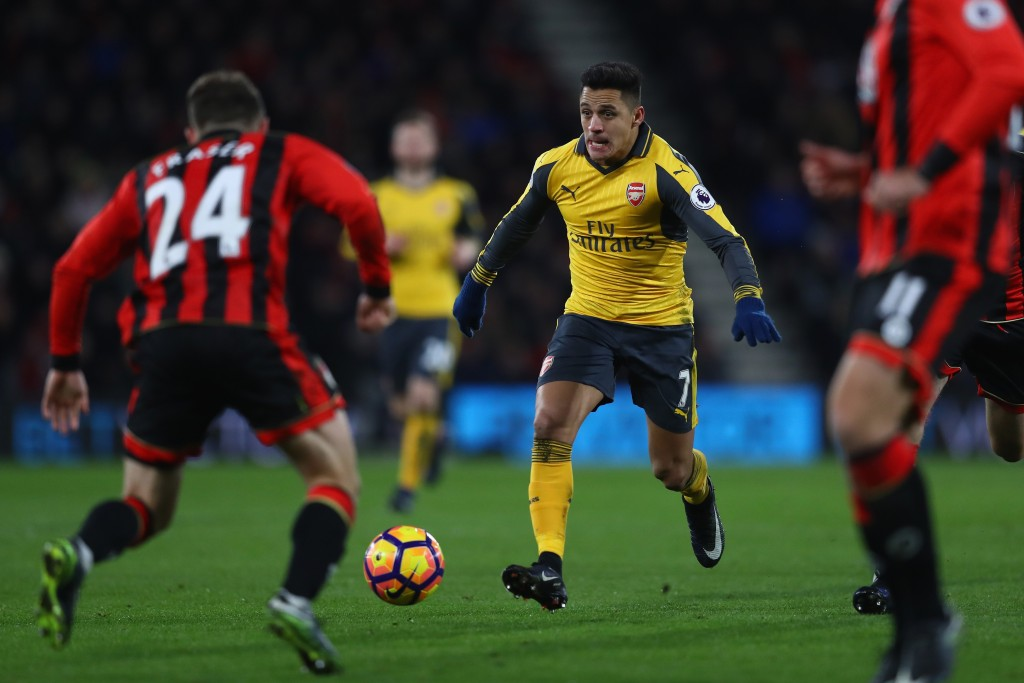 BOURNEMOUTH, ENGLAND - JANUARY 03: Alexis Sanchez of Arsenal during the Premier League match between AFC Bournemouth and Arsenal at the Vitality Stadium on January 3, 2017 in Bournemouth, England. (Photo by Michael Steele/Getty Images,)