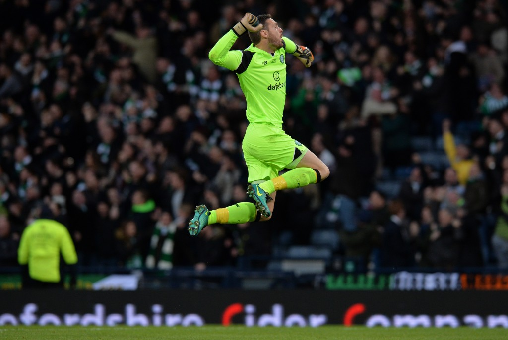 GLASGOW, SCOTLAND - NOVEMBER 27: Craig Gordon of Celtic reacts to his team's second goal of the game during the Betfred Cup Final between Aberdeen FC and Celtic FC at Hampden Park on November 27, 2016 in Glasgow, Scotland. (Photo by Mark Runnacles/Getty Images)