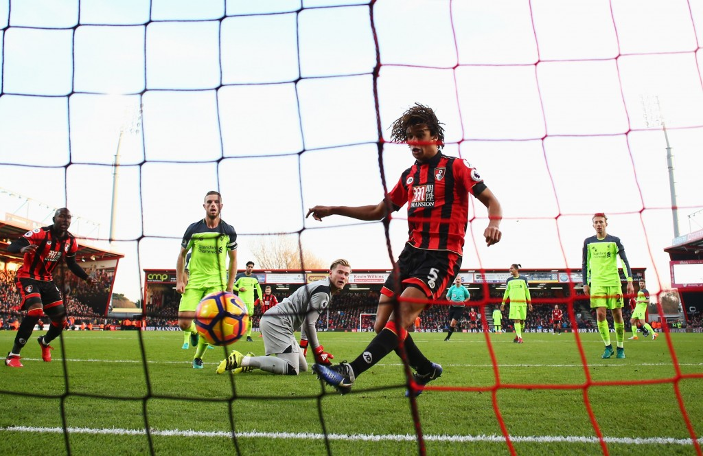 BOURNEMOUTH, ENGLAND - DECEMBER 04:  Nathan Ake of AFC Bournemouth (5) scores their fourth goal during the Premier League match between AFC Bournemouth and Liverpool at Vitality Stadium on December 4, 2016 in Bournemouth, England.  (Photo by Michael Steele/Getty Images)