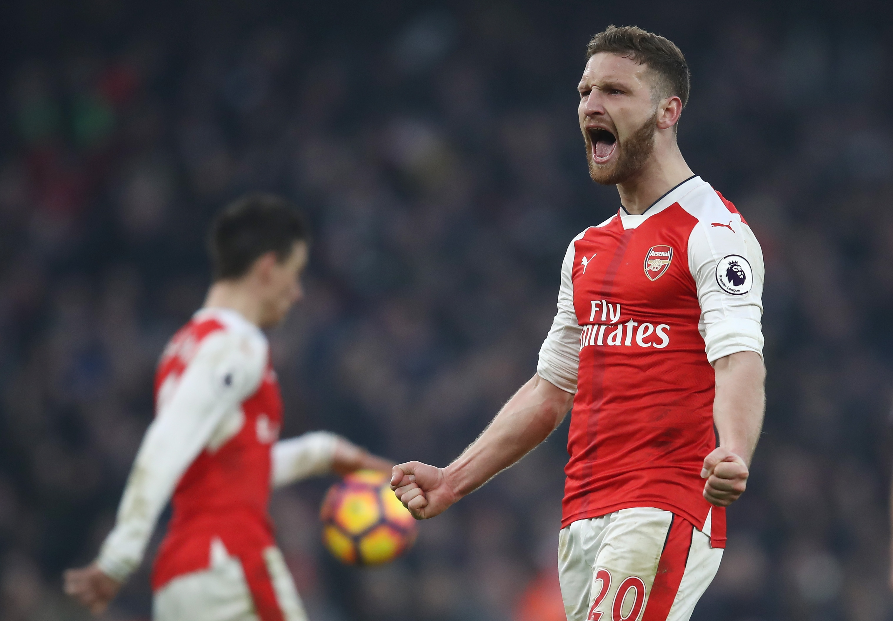 LONDON, ENGLAND - JANUARY 22: Shkodran Mustafi of Arsenal celebrates his side's 2-1 win after the Premier League match between Arsenal and Burnley at the Emirates Stadium on January 22, 2017 in London, England. (Photo by Julian Finney/Getty Images)