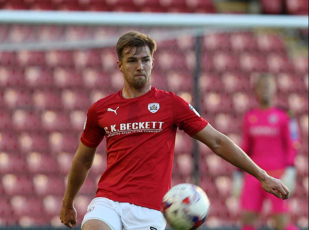 BARNSLEY, ENGLAND - AUGUST 09: James Bree of Barnsley in action duriing during the EFL Cup match between Barnsley and Northampton Town at Oakwell Stadium on August 9, 2016 in Barnsley, England. (Photo by Pete Norton/Getty Images)