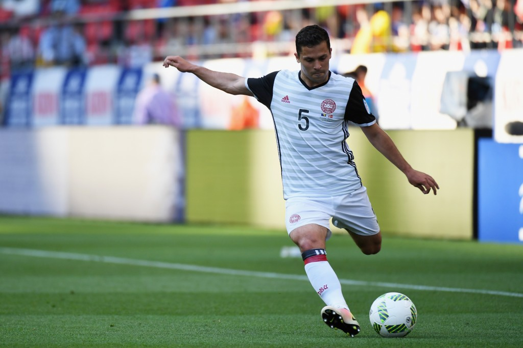 TOYOTA, JAPAN - JUNE 03: Riza Durmisi of Denmark takes a free kick during the international friendly match between Bosnia and Herzegovina and Denmark at the Toyota Stadium on June 3, 2016 in Toyota, Aichi, Japan. (Photo by Kaz Photography/Getty Images)