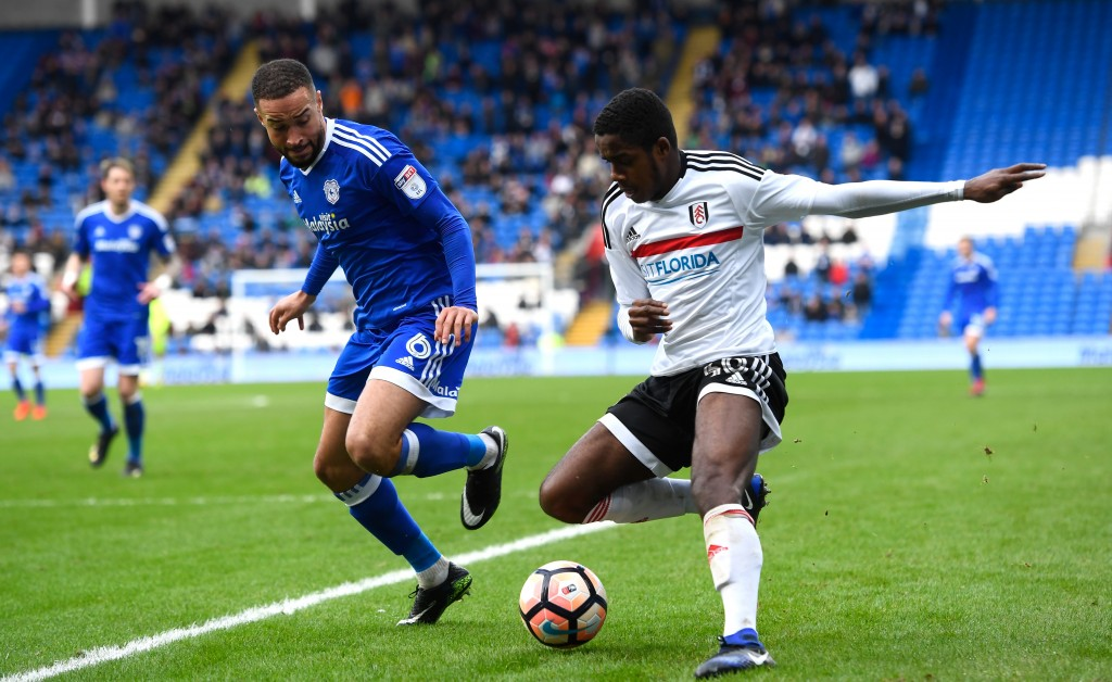 CARDIFF, WALES - JANUARY 08: Ashley Richards of Cardiff City and Ryan Sessegnon of Fulham in action during The Emirates FA Cup Third Round match between Cardiff City and Fulham at Cardiff City Stadium on January 8, 2017 in Cardiff, Wales. (Photo by Stu Forster/Getty Images)
