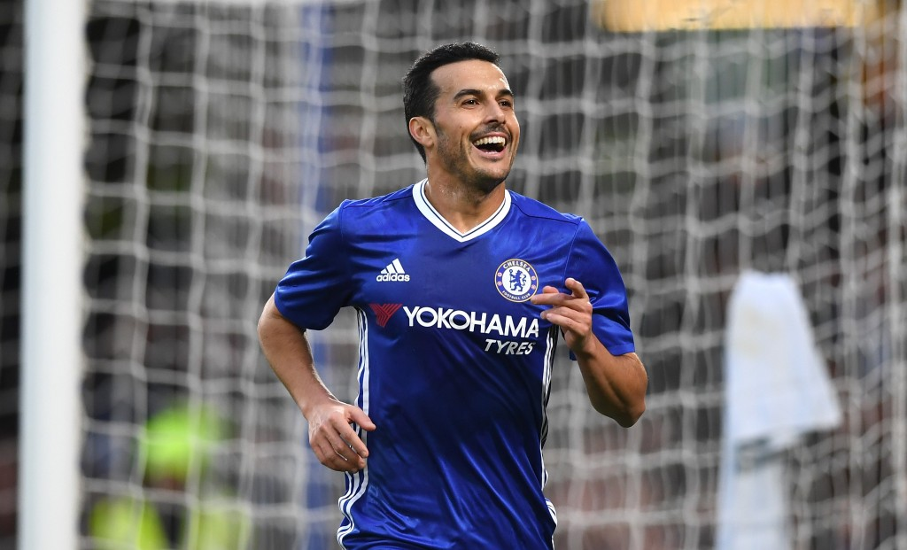 LONDON, ENGLAND - JANUARY 08: Pedro of Chelsea celebrates scoring his sides first goal during The Emirates FA Cup Third Round match between Chelsea and Peterborough United at Stamford Bridge on January 8, 2017 in London, England. (Photo by Shaun Botterill/Getty Images)