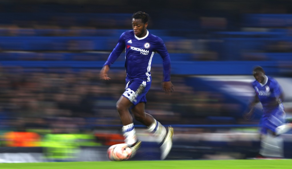 LONDON, ENGLAND - JANUARY 08: Michy Batshuayi of Chelsea in action during The Emirates FA Cup Third Round match between Chelsea and Peterborough United at Stamford Bridge on January 8, 2017 in London, England. (Photo by Ian Walton/Getty Images)