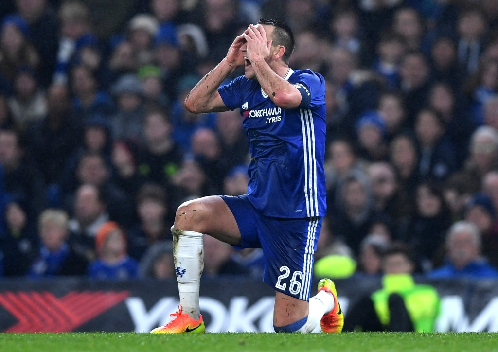 LONDON, ENGLAND - JANUARY 08: John Terry of Chelsea reacts during The Emirates FA Cup Third Round match between Chelsea and Peterborough United at Stamford Bridge on January 8, 2017 in London, England. (Photo by Shaun Botterill/Getty Images)