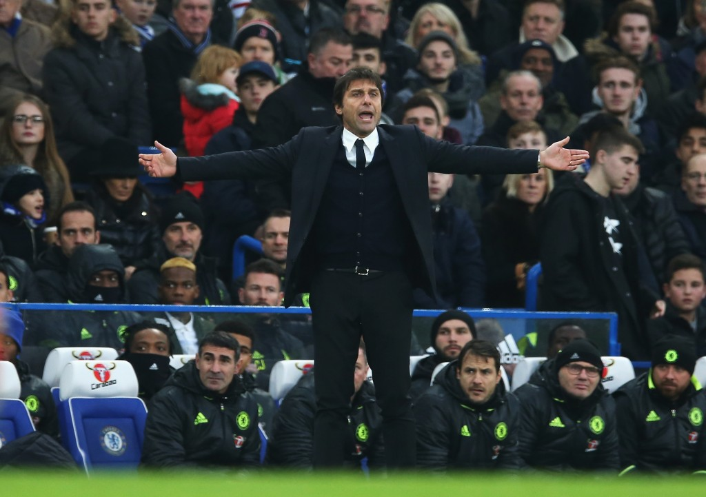 LONDON, ENGLAND - DECEMBER 31: Antonio Conte, Manager of Chelsea gestures during the Premier League match between Chelsea and Stoke City at Stamford Bridge on December 31, 2016 in London, England. (Photo by Steve Bardens/Getty Images)