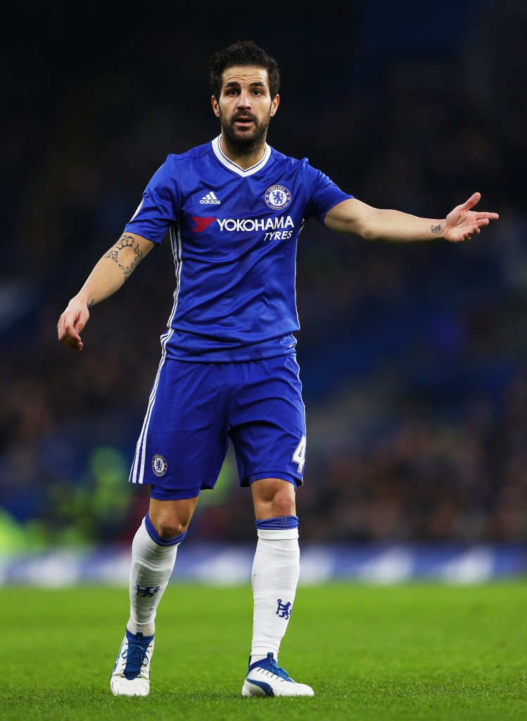 LONDON, ENGLAND - DECEMBER 31: Cesc Fabregas of Chelsea gestures during the Premier League match between Chelsea and Stoke City at Stamford Bridge on December 31, 2016 in London, England. (Photo by Ian Walton/Getty Images)
