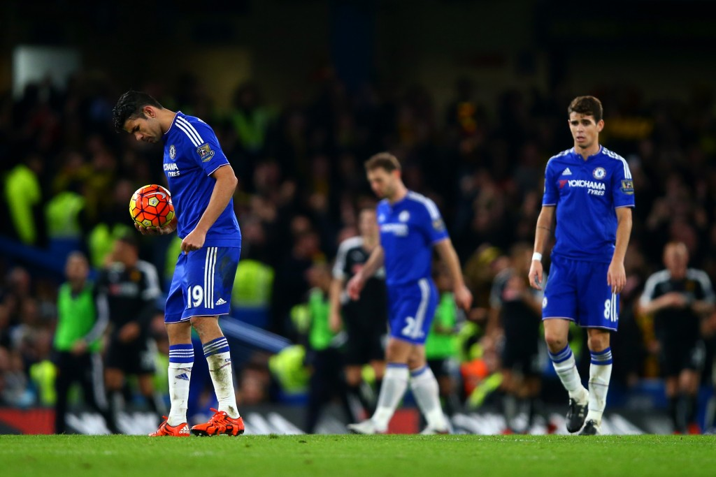 LONDON, ENGLAND - DECEMBER 26: Diego Costa, Branislav Ivanovic and Oscar of Chelsea show their dejection after conceding a goal during the Barclays Premier League match between Chelsea and Watford at Stamford Bridge on December 26, 2015 in London, England. (Photo by Clive Rose/Getty Images)