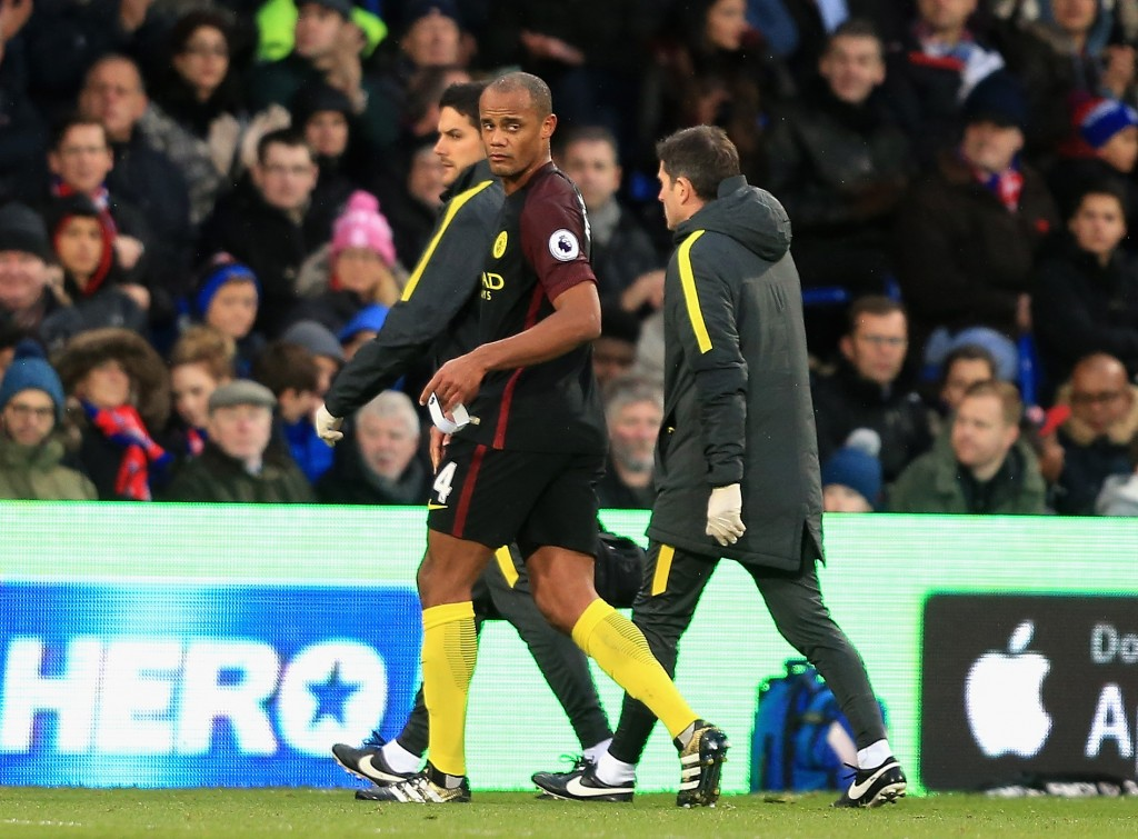 Manchester City captain Vincent Kompany is no closer to a return from knee injury. (Photo by Stephen Pond/Getty Images)