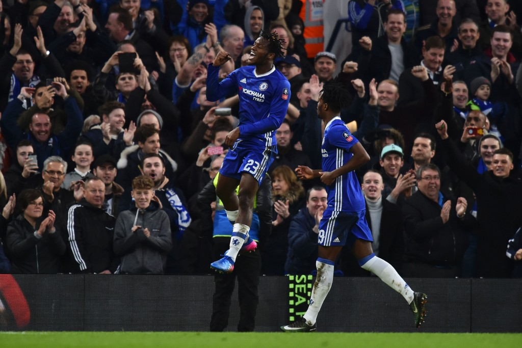 Chelsea's Belgian striker Michy Batshuayi celebrates scoring their fourth goal during the English FA Cup fourth round football match between Chelsea and Brentford at Stamford Bridge in London on January 28, 2017. / AFP / Glyn KIRK / RESTRICTED TO EDITORIAL USE. No use with unauthorized audio, video, data, fixture lists, club/league logos or 'live' services. Online in-match use limited to 75 images, no video emulation. No use in betting, games or single club/league/player publications. / (Photo credit should read GLYN KIRK/AFP/Getty Images)