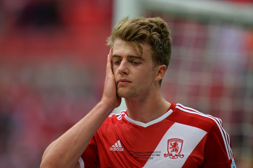 Middlesbrough's English striker Patrick Bamford reacts at the final whistle of the English Championship play off final football match between Middlesbrough and Norwich City at Wembley Stadium in London on May 25, 2015. (Photo by Glyn Kirk/AFP/Getty Images)