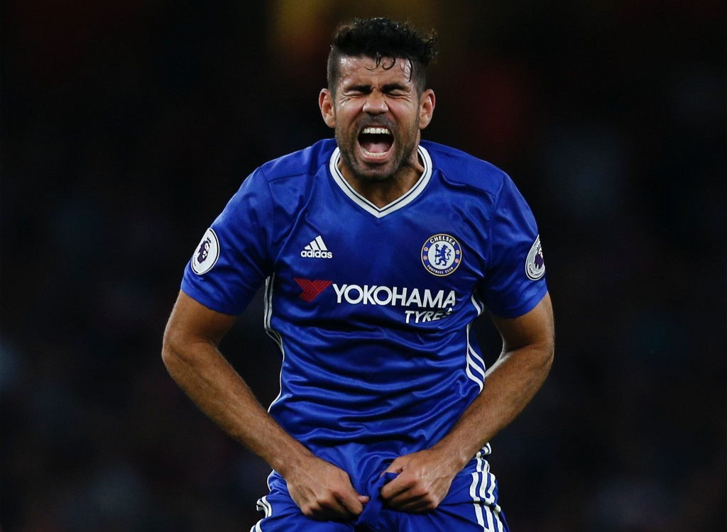 Chelsea's Brazilian-born Spanish striker Diego Costa reacts during the English Premier League football match between Arsenal and Chelsea at The Emirates stadium in London, on September 24, 2016. (Photo by Ian Kington/AFP/Getty Images)