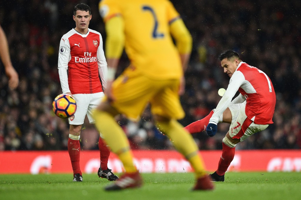 Arsenal's Chilean striker Alexis Sanchez takes a freekick during the English Premier League football match between Arsenal and Crystal Palace at the Emirates Stadium in London on January 1, 2017. Arsenal won the match 2-0. / AFP / Glyn KIRK / RESTRICTED TO EDITORIAL USE. No use with unauthorized audio, video, data, fixture lists, club/league logos or 'live' services. Online in-match use limited to 75 images, no video emulation. No use in betting, games or single club/league/player publications. / (Photo credit should read GLYN KIRK/AFP/Getty Images)