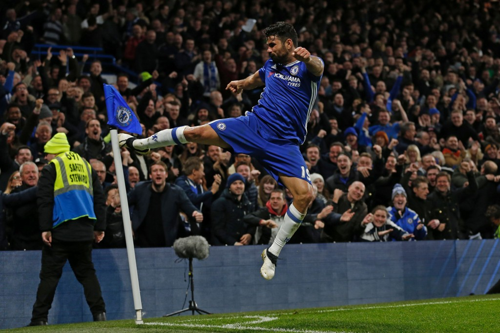 It has been raining goals for Diego Costa this season, and his will need to rise up for the Blues once again on Saturday. (Photo courtesy - Ian Kington/AFP/Getty Images)