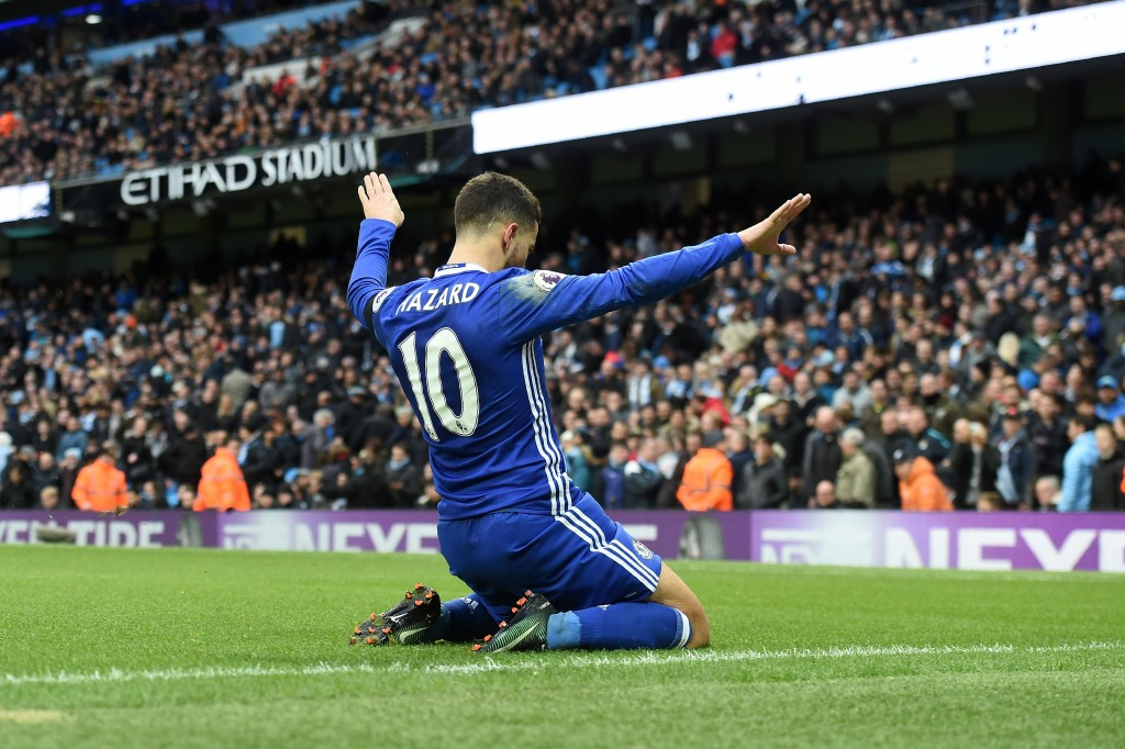 Back to his best - Eden Hazard has re-established himself as Chlesea's talisman this season. (Photo courtesy - Paul Ellis/AFP/Getty Images)