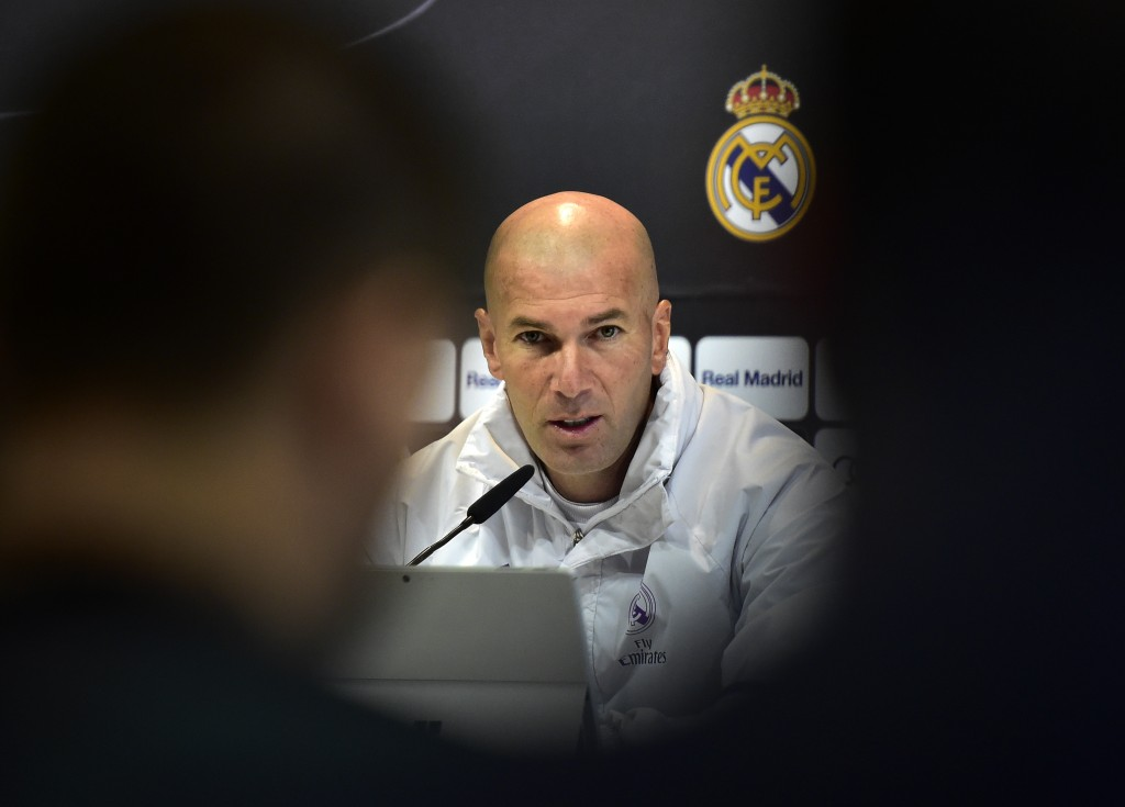 Real Madrid's French coach Zinedine Zidane speaks during a press conference at Valdebebas Sport City in Madrid on January 3, 2017, on the eve of the Spanish Copa del Rey (King's Cup) match Real Madrid CF vs Sevilla FC. / AFP / GERARD JULIEN (Photo credit should read GERARD JULIEN/AFP/Getty Images)