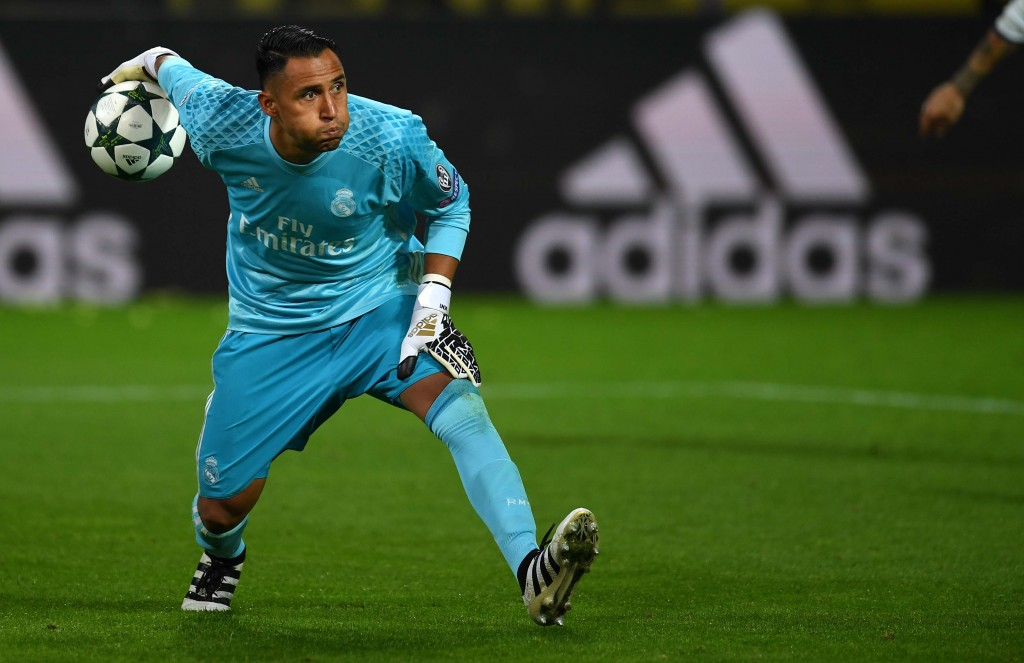 Real Madrid's Costa Rican goalkeeper Keylor Navas vies during the UEFA Champions League first leg football match between Borussia Dortmund and Real Madrid at BVB stadium in Dortmund, on September 27, 2016. / AFP / PATRIK STOLLARZ (Photo credit should read PATRIK STOLLARZ/AFP/Getty Images)