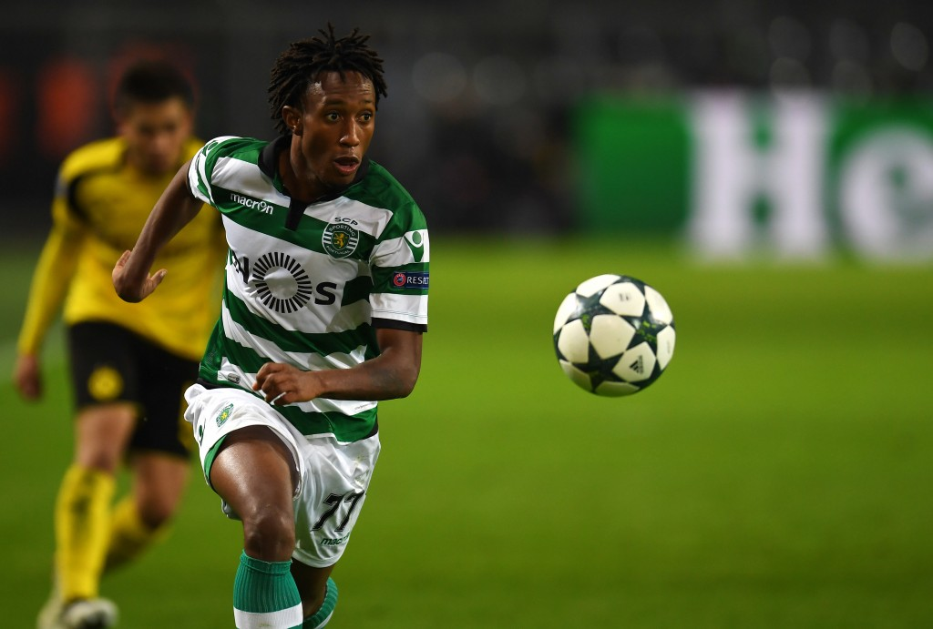 Sporting´s Gelson Martins vies for the ball UEFA Champions League Group F football match between BVB Borussia Dortmund and Sporting CP in Dortmund, western Germany, on November 2, 2016. / AFP / PATRIK STOLLARZ (Photo credit should read PATRIK STOLLARZ/AFP/Getty Images)