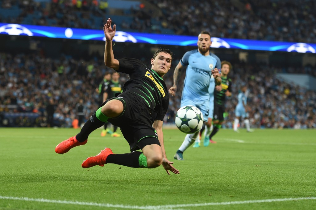 Moenchengladbach's Danish defender Andreas Christensen tries to keep the ball in play during the UEFA Champions League group C football match between Manchester City and Borussia Monchengladbach at the Etihad stadium in Manchester, northwest England, on September 14, 2016. / AFP / PAUL ELLIS (Photo credit should read PAUL ELLIS/AFP/Getty Images)