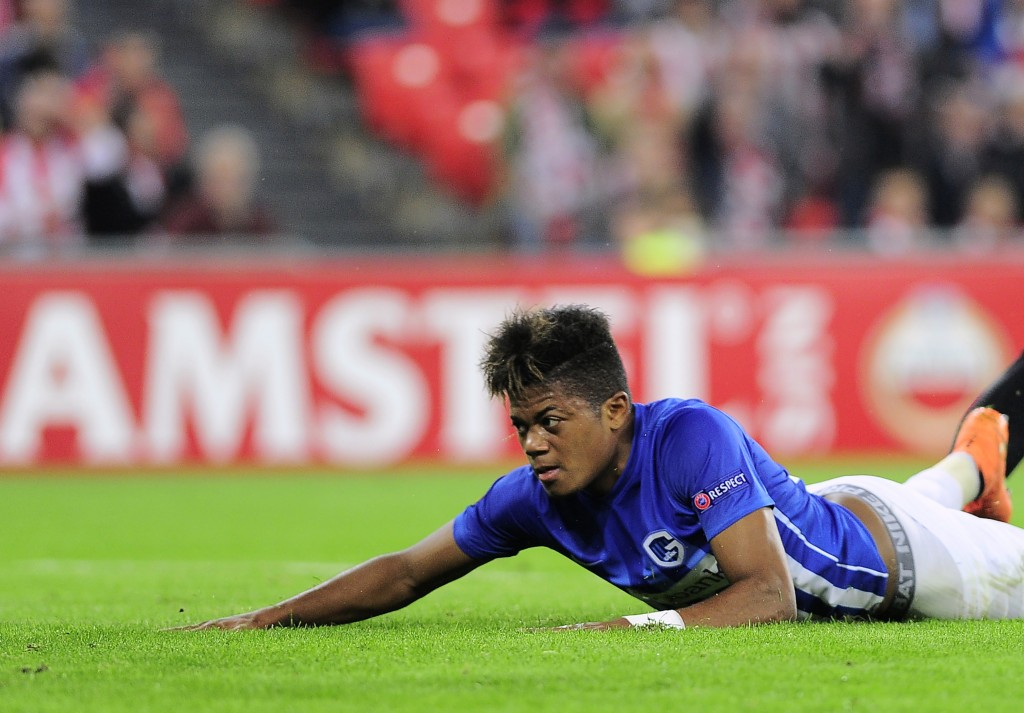 Genk's Jamaican midfielder Leon Bailey lies on the pitch just after scoring during the Europa League Group F football match Athletic Club de Bilbao vs KRC Genk at the San Mames stadium in Bilbao on November 3, 2016. (Photo by Ander Gillenea/AFP/Getty Images)