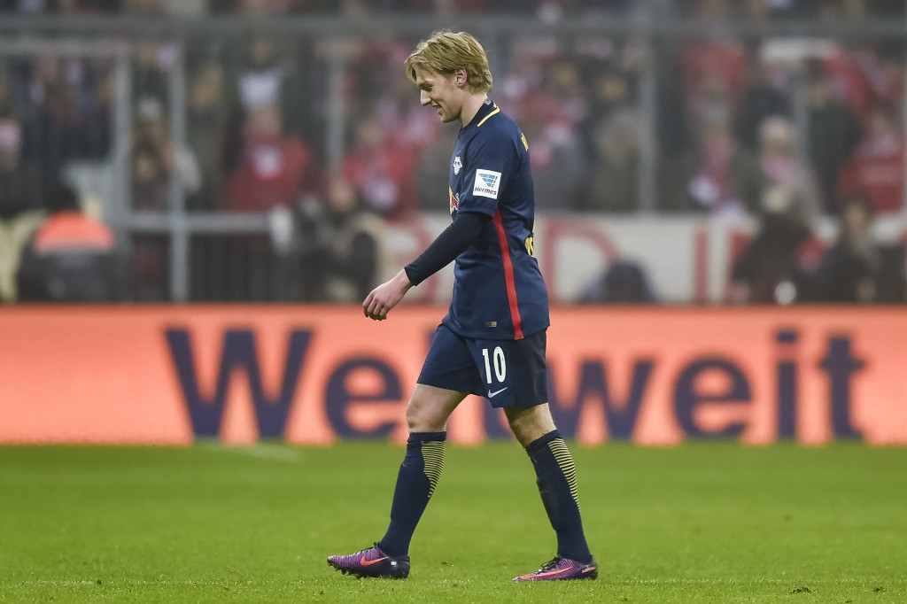 Forsberg saw red at Bayern. Could he soon be wearing the Anfield Red? (Picture Courtesy - AFP/Getty Images)