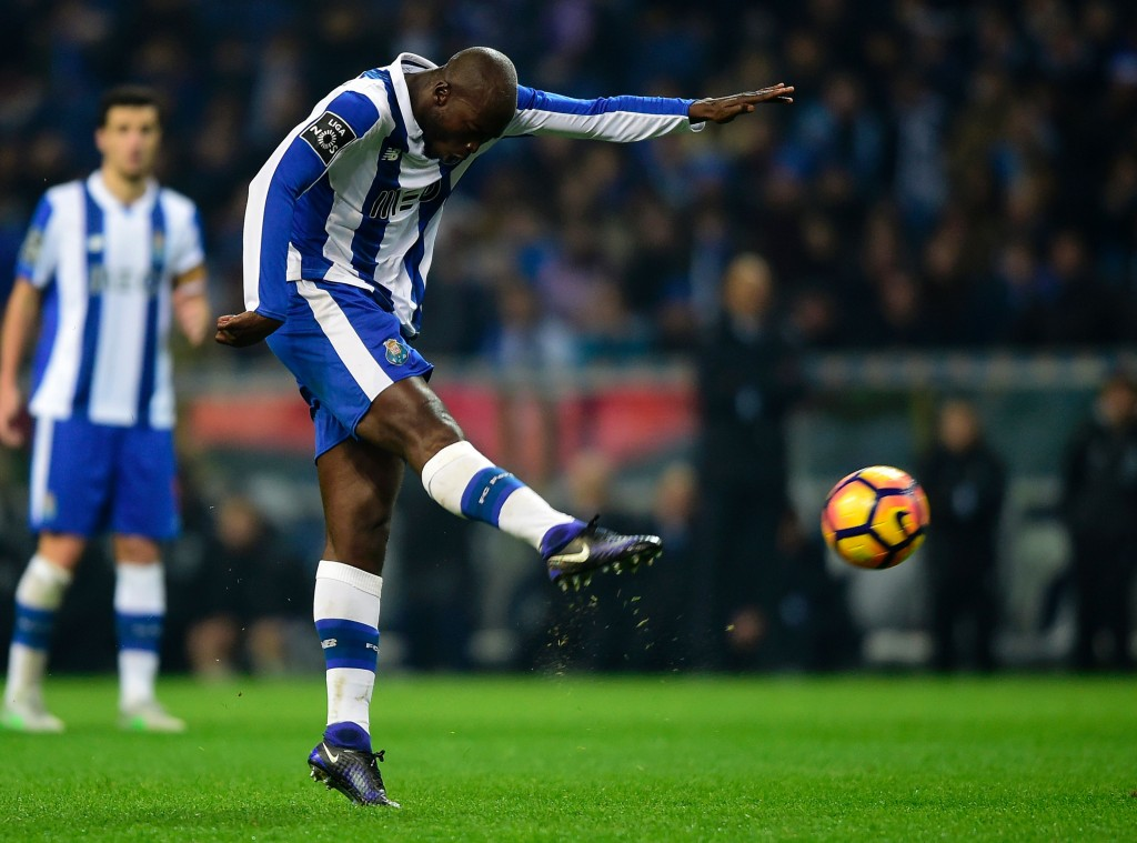 Porto's midfielder Danilo Pereira kicks the ball to score during the Portuguese league football match FC Porto vs GD Chaves at the Dragao stadium in Porto on December 19, 2016. (Photo courtesy - Miguel Riopa/AFP/Getty Images)