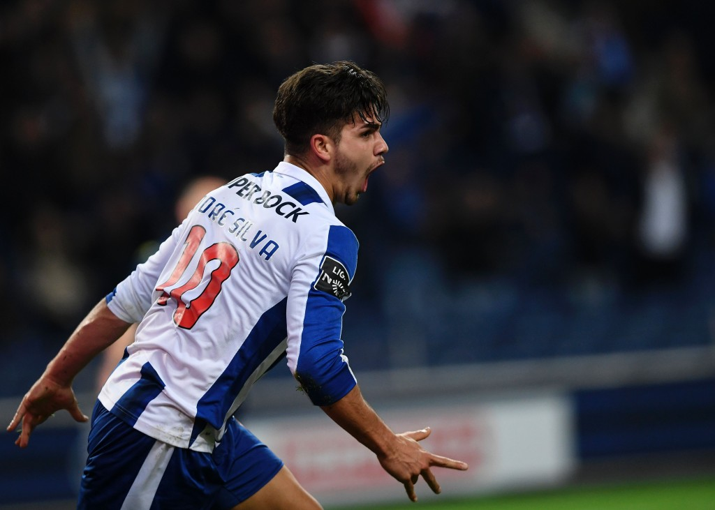 Porto's forward Andre Silva celebrates after scoring during the Portuguese league football match FC Porto vs Moreirense FC at the Dragao stadium in Porto on January 15, 2017. / AFP / FRANCISCO LEONG (Photo credit should read FRANCISCO LEONG/AFP/Getty Images)