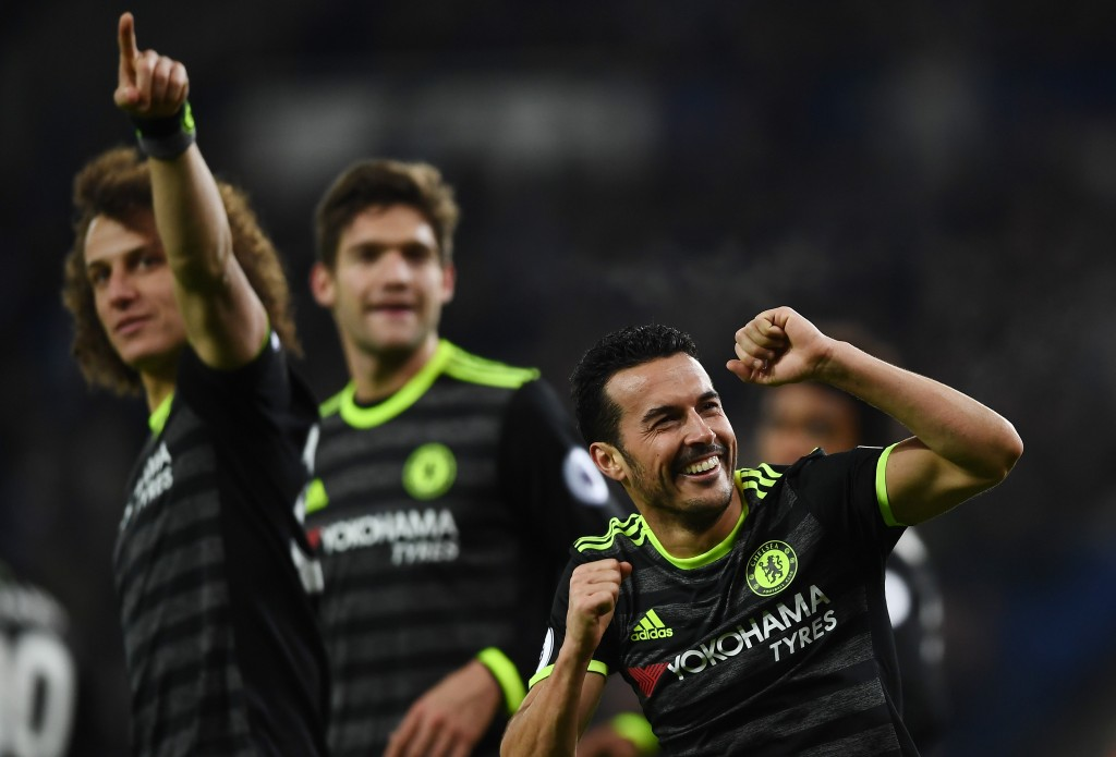 LEICESTER, ENGLAND - JANUARY 14: Pedro (R) of Chelsea celebrates after scoring his team's third goal during the Premier League match between Leicester City and Chelsea at The King Power Stadium on January 14, 2017 in Leicester, England. (Photo by Laurence Griffiths/Getty Images)