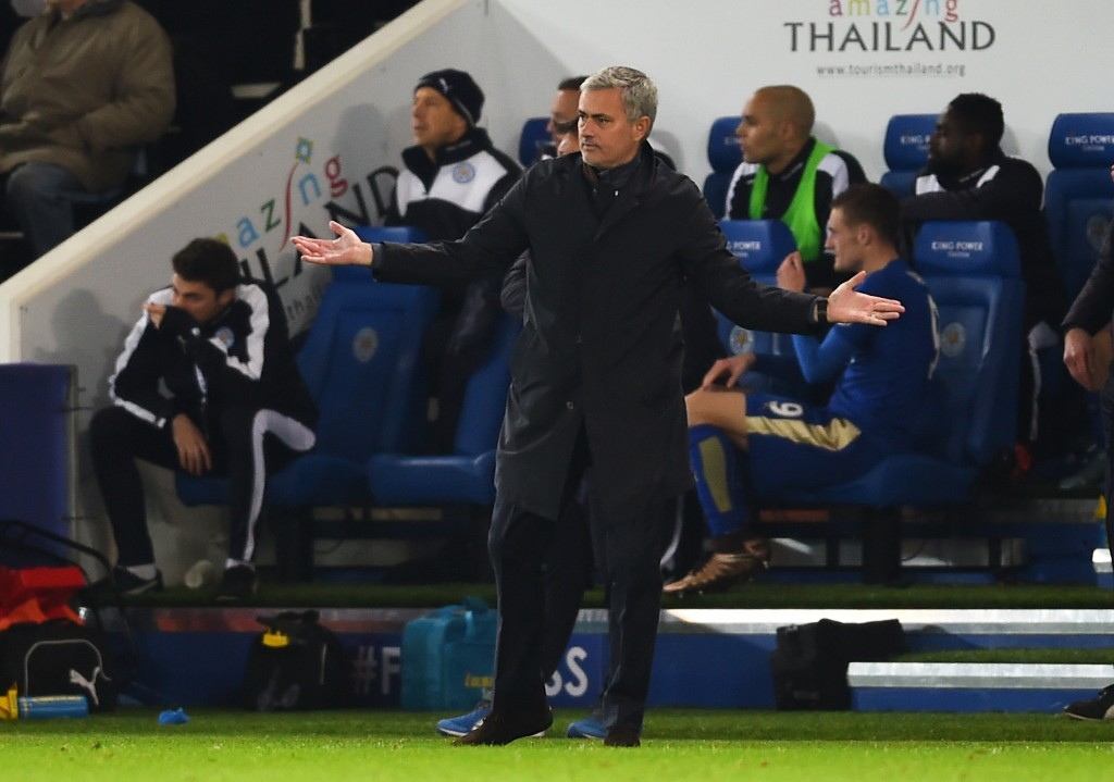 LEICESTER, ENGLAND - DECEMBER 14: Jose Mourinho the manager of Chelsea reacts during the Barclays Premier League match between Leicester City and Chelsea at the King Power Stadium on December14, 2015 in Leicester, United Kingdom. (Photo by Laurence Griffiths/Getty Images)