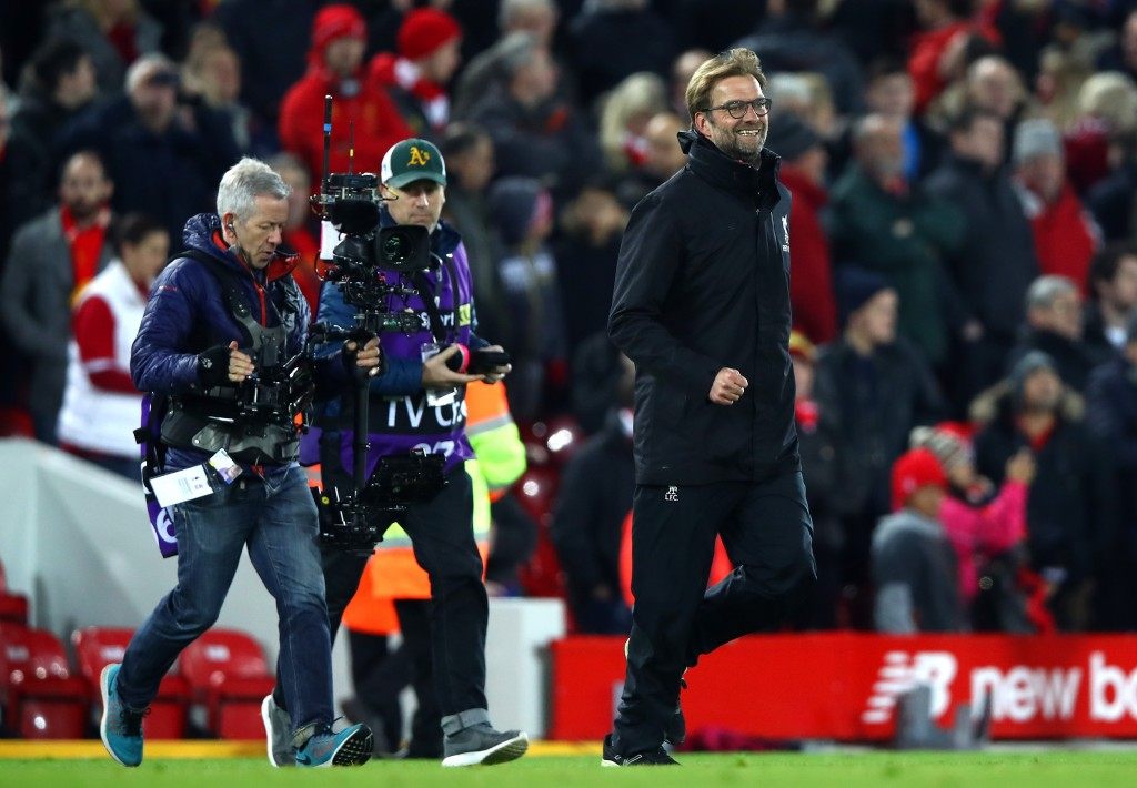 LIVERPOOL, ENGLAND - DECEMBER 31: Jurgen Klopp, Manager of Liverpool celebrates victory during the Premier League match between Liverpool and Manchester City at Anfield on December 31, 2016 in Liverpool, England. (Photo by Clive Brunskill/Getty Images)