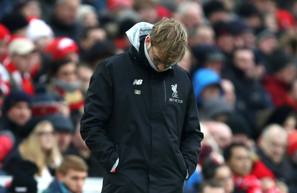 LIVERPOOL, ENGLAND - JANUARY 21: Jurgen Klopp, Manager of Liverpool looks dejected during the Premier League match between Liverpool and Swansea City at Anfield on January 21, 2017 in Liverpool, England. (Photo by Julian Finney/Getty Images)