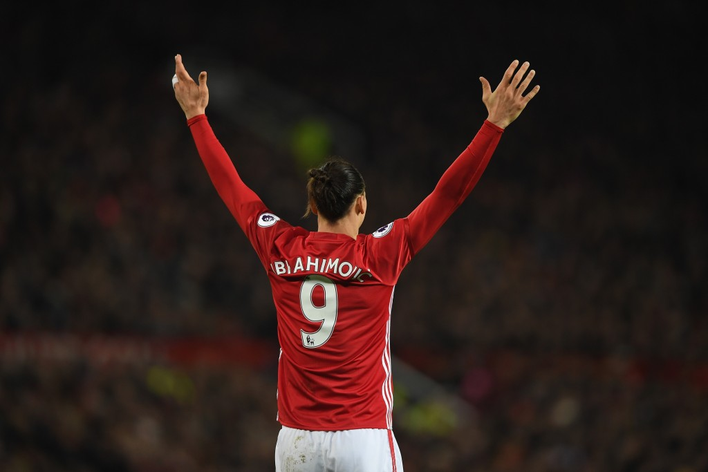 MANCHESTER, ENGLAND - JANUARY 15: Zlatan Ibrahimovic of Manchester United gestures during the Premier League match between Manchester United and Liverpool at Old Trafford on January 15, 2017 in Manchester, England. (Photo by Mike Hewitt/Getty Images)