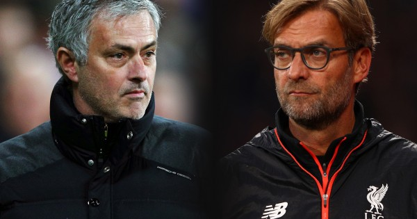 FILE PHOTO (EDITORS NOTE: GRADIENT ADDED - COMPOSITE OF TWO IMAGES - Image numbers (L) 630799888 and 619016290) In this composite image a comparision has been made between Jose Mourinho, Manager of Manchester United and Jurgen Klopp, Manager of Liverpool. Manchester United and Liverpool meet in a Premier League match on January 15,2017 at Old Trafford in Manchester.   ***LEFT IMAGE*** STRATFORD, ENGLAND - JANUARY 02: Jose Mourinho, Manager of Manchester United looks on during the Premier League match between West Ham United and Manchester United at London Stadium on January 2, 2017 in Stratford, England. (Photo by Ian Walton/Getty Images) ***RIGHT IMAGE*** LONDON, ENGLAND - OCTOBER 29: Jurgen Klopp, Manager of Liverpool looks on during the Premier League match between Crystal Palace and Liverpool at Selhurst Park on October 29, 2016 in London, England. (Photo by Ian Walton/Getty Images)