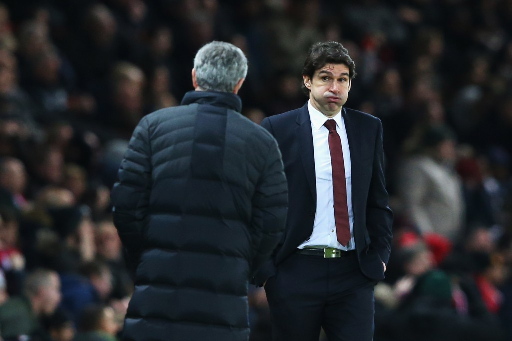MANCHESTER, ENGLAND - DECEMBER 31: Manchester United Manager, Jose Mourinho (L) and Middlesbrough Manager, Aitor Karanka react on the sidelines during the Premier League match between Manchester United and Middlesbrough at Old Trafford on December 31, 2016 in Manchester, England. (Photo by Alex Livesey/Getty Images)