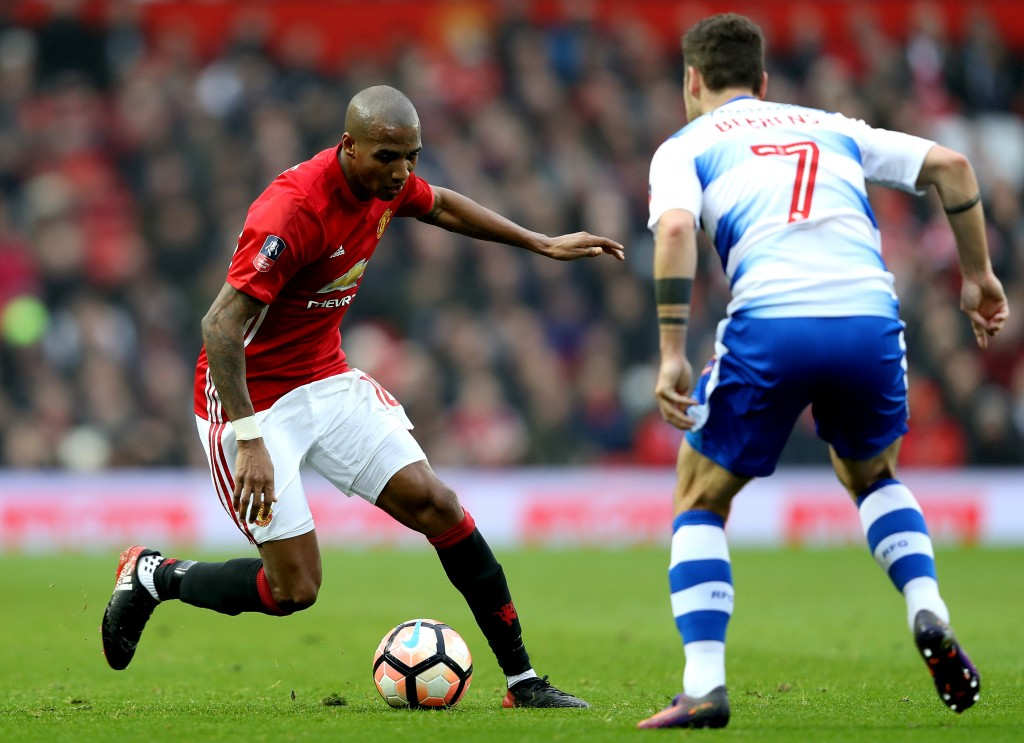Ashley Young has rarely taken the field for Manchester United this season. (Photo by Mark Thompson/Getty Images)