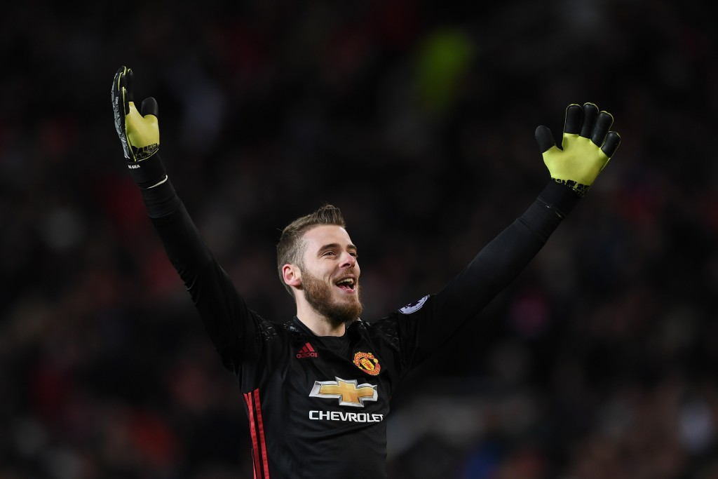 MANCHESTER, ENGLAND - DECEMBER 26: David De Gea of Manchester United celebrates during the Premier League match between Manchester United and Sunderland at Old Trafford on December 26, 2016 in Manchester, England. (Photo by Gareth Copley/Getty Images)