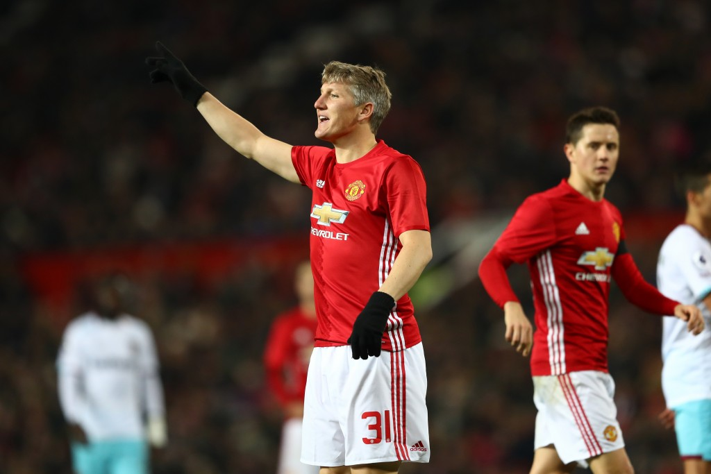 MANCHESTER, ENGLAND - NOVEMBER 30: Bastian Schweinsteiger of Manchester United in action during the EFL Cup quarter final match between Manchester United and West Ham United at Old Trafford on November 30, 2016 in Manchester, England. (Photo by Michael Steele/Getty Images)