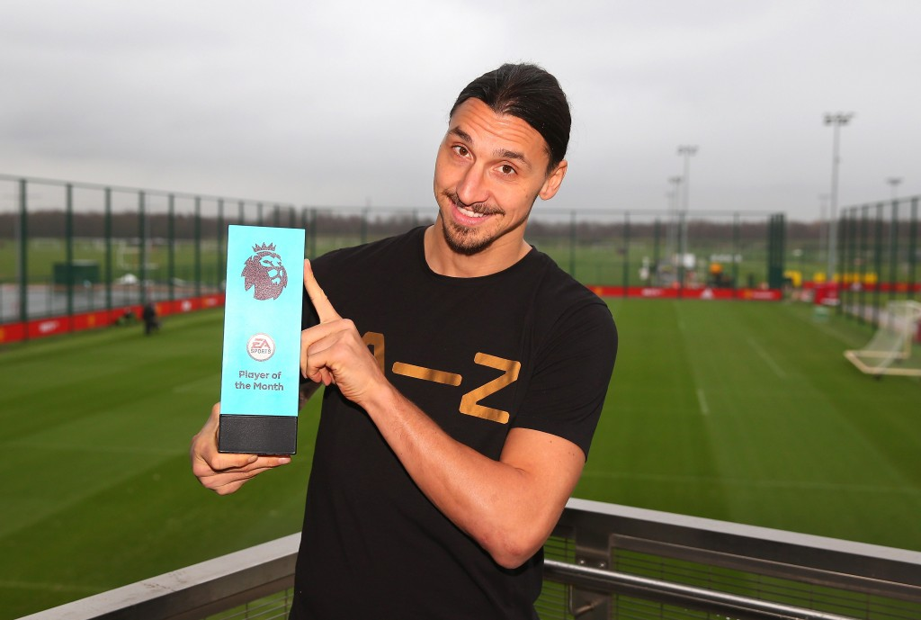 MANCHESTER, ENGLAND - JANUARY 12: Zlatan Ibrahimovic of Manchester United is presented with the EA Premier League Player of the Month Award at Aon Training Complex on January 12, 2017 in Manchester, England. (Photo by Alex Livesey/Getty Images for Premier League)