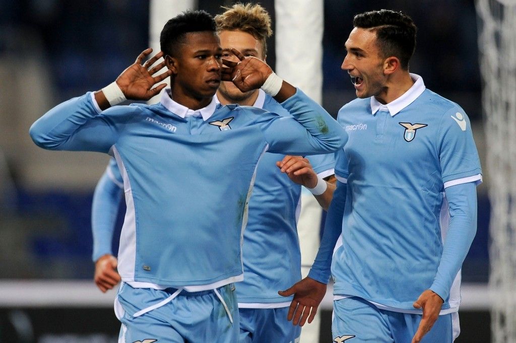 ROME, ROMA - DECEMBER 18: Balde Diao Keita of SS Lazio celebrates the opening goal during the Serie A match between SS Lazio and ACF Fiorentina at Stadio Olimpico on December 18, 2016 in Rome, Italy. (Photo by Marco Rosi/Getty Images)